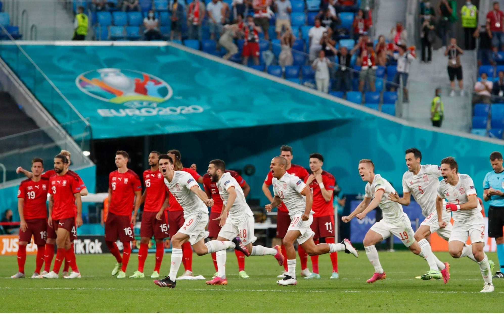 欧洲杯战报瑞士3人失点,西班牙点球大战4-2淘汰瑞士晋级四强!