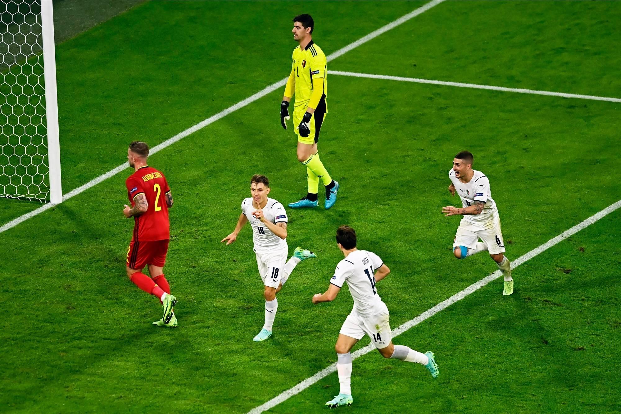 欧洲杯战报因西涅世界波,意大利2-1战胜比利时晋级四强!