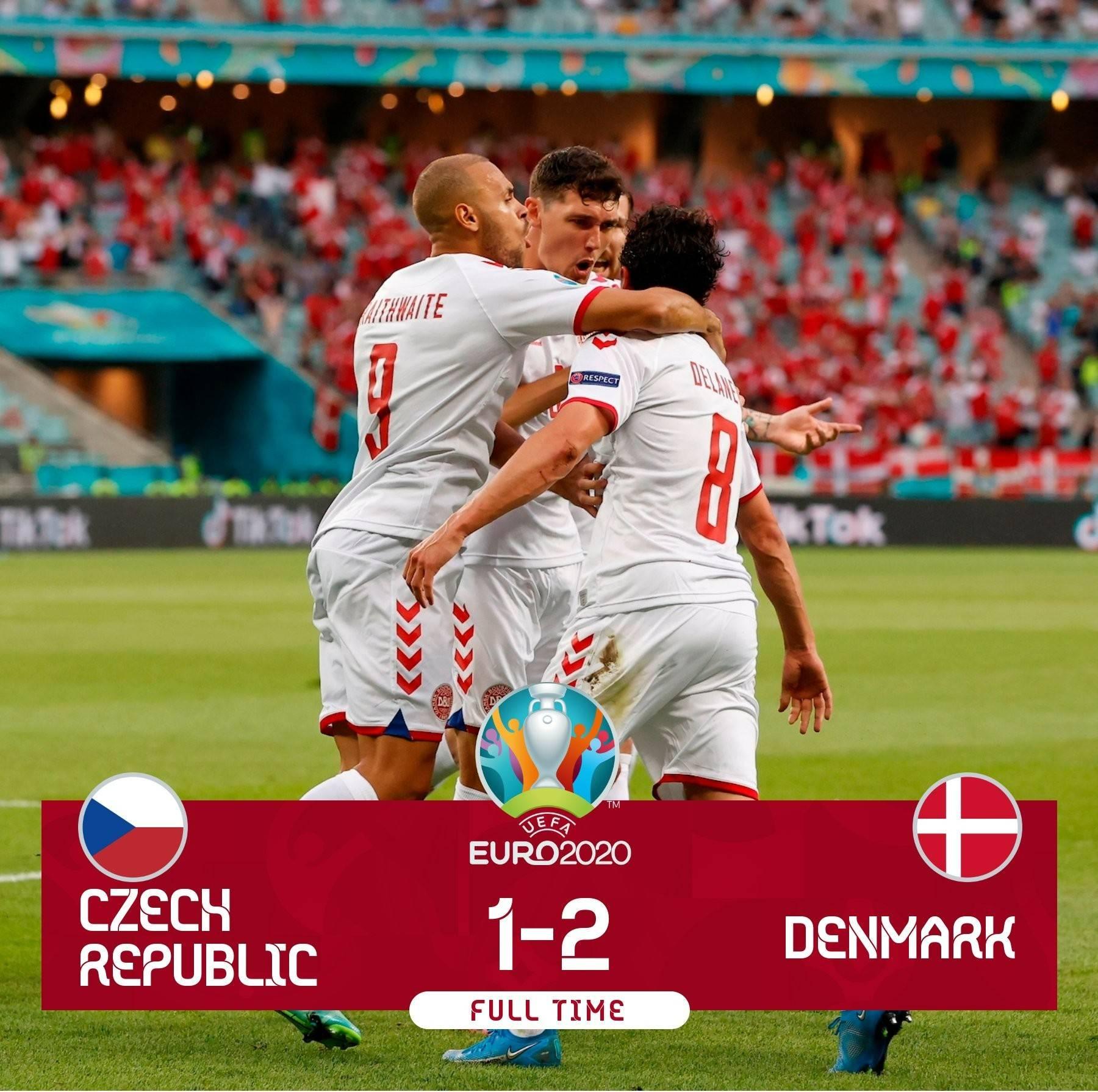 欧洲杯战报德莱尼、多尔贝里建功,丹麦2-1捷克晋级半决赛