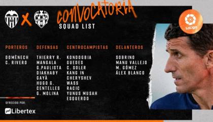 巴伦西亚大名单出炉:戈麦斯领衔锋线,保利斯塔、加亚统领后防线