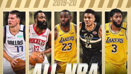 NBA最佳阵容:洛杉矶湖人詹姆斯 戴维斯领衔