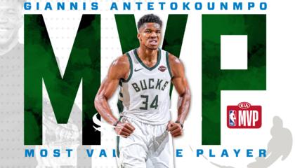 NBA官方宣布:字母哥当选2019-20赛季常规赛MVP