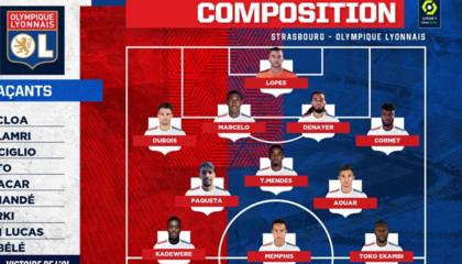 斯特拉斯堡VS里昂首发:德佩领衔,帕奎塔法甲首秀