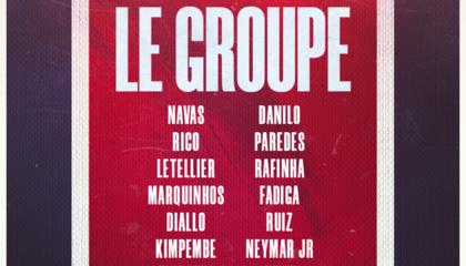 巴黎圣日尔曼大名单:内马尔、姆巴佩领衔,伊卡尔迪伤缺