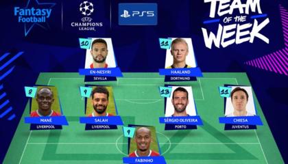 欧足联公布本周欧冠最佳阵容,利物浦6人入选