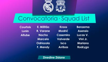 皇马VS利物浦大名单:本泽马领衔,拉莫斯、阿扎尔、卡瓦哈尔伤缺