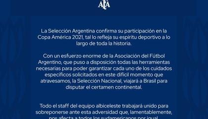 官方:阿根廷国家队确认参加2021年美洲杯