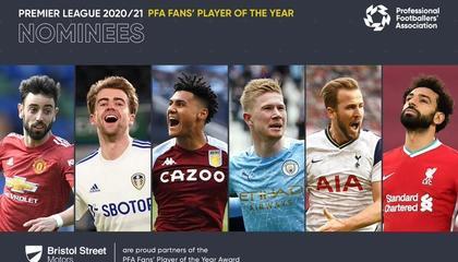 PFA英超年度最佳候选:B费、德布劳内、萨拉赫、凯恩入选