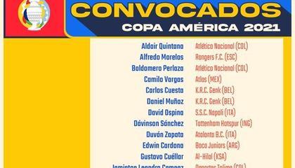 美洲杯哥伦比亚大名单:夸德拉多领衔,J罗因伤落选