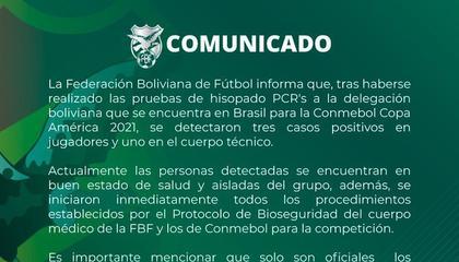 官方:玻利维亚三名球员和一名教练组成员新冠阳性