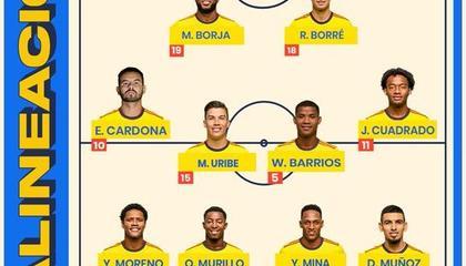 哥伦比亚vs厄瓜多尔首发:夸德拉多领衔,波利先发出战