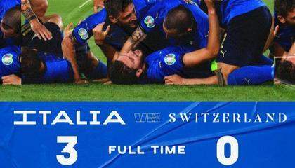 欧洲杯战报:洛卡特利双响,因莫比莱破门,意大利3-0大胜瑞士