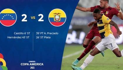美洲杯战报:卡斯蒂洛传射,委内瑞拉绝平厄瓜多尔