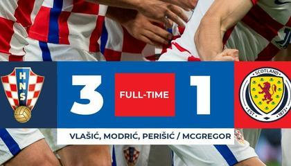 欧洲杯战报:宝刀不老!魔笛外脚背破门 克罗地亚3-1战胜苏格兰