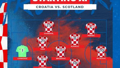 克罗地亚VS苏格兰首发:莫德里奇领衔;蒂尔尼、罗伯逊首发