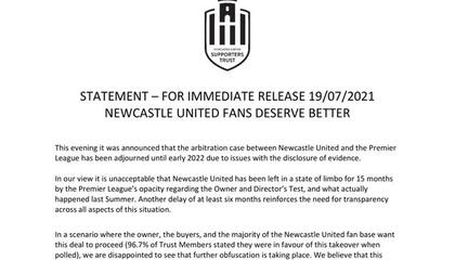 官方:纽卡斯尔联收购案仲裁程序延期到2022年