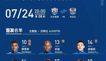 沧州雄狮vs青岛队首发:穆里奇、奥斯卡PK亚历山德里尼、拉多尼奇