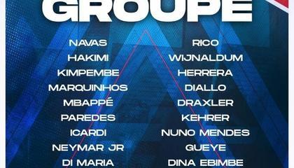 巴黎VS里昂大名单出炉:梅西、内马尔、姆巴佩均入选