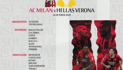 AC米兰对阵维罗纳大名单公布:伊布、雷比奇都在列